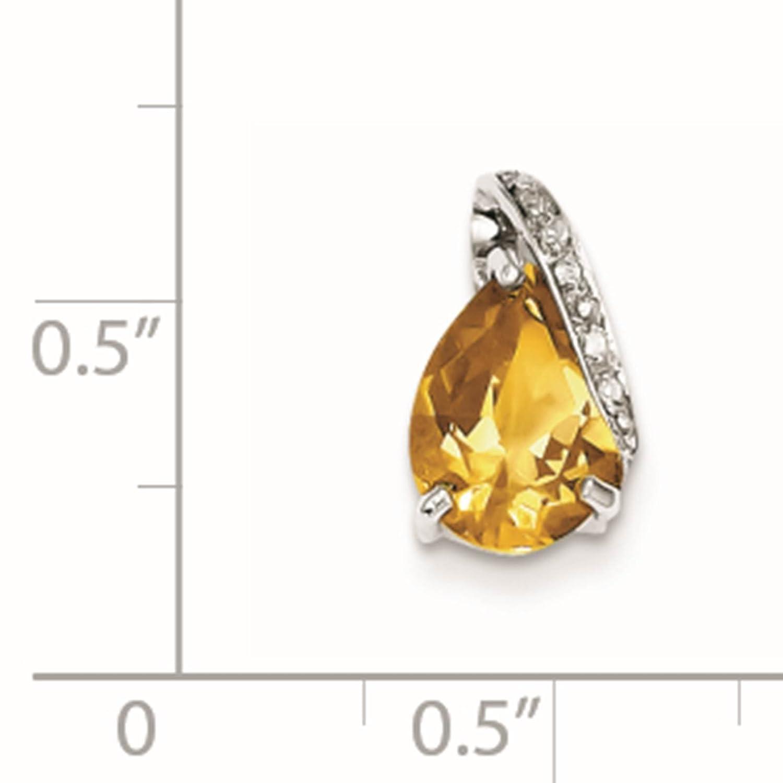 925 Sterling Silver Rhodium-plated Pear Citrine /& Diamond Prong Set Pendant