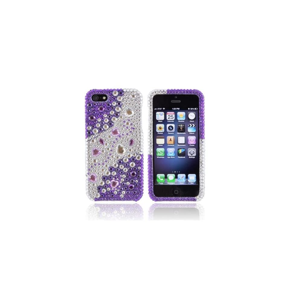 Purple/ Silver Rhinestones Bling Apple iPhone 5 / 5S Hard Case Cover; Fashion Jeweled Snap On Plastic Case; Perfect Fit as Best Coolest Design Cases for iPhone 5 / 5S/Apple 5 / 5S Compatible with Verizon, AT&T, Sprint,T Mobile and Unlocked Phones