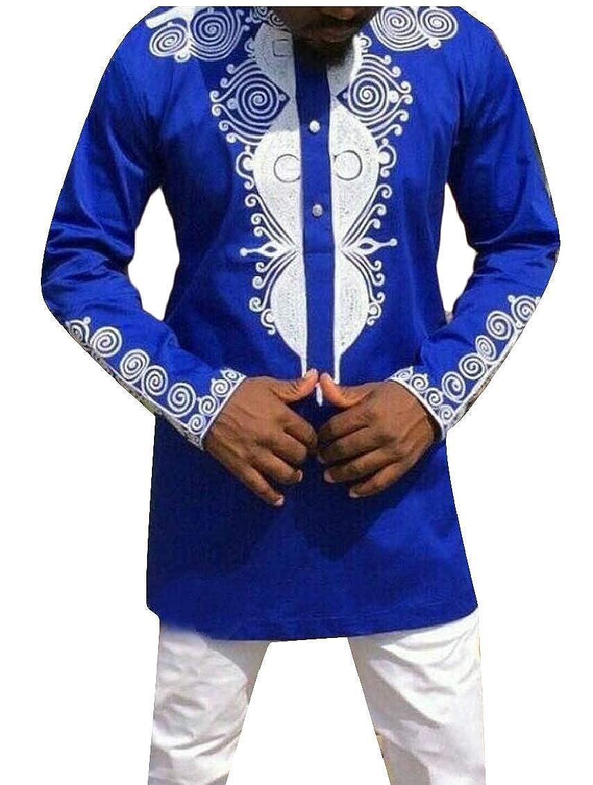 UNINUKOO Unko Mens African Dashiki Floral Pattern Print Tops Casual Dress Shirts