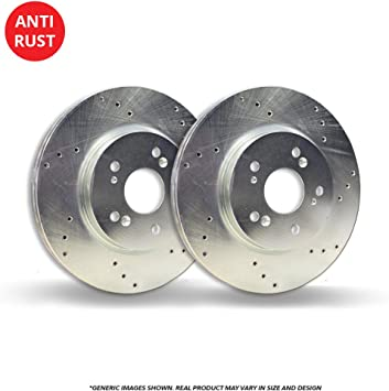 Heavy Tough-Series Fits:- Mercedes-Benz 2 Silver Coated Cross-Drilled Disc Brake Rotors 5lug Front Rotors