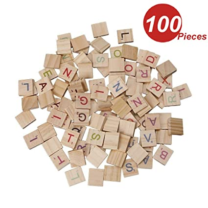 Amazon Com Wingoneer 100pcs English Wooden Block Letter Square