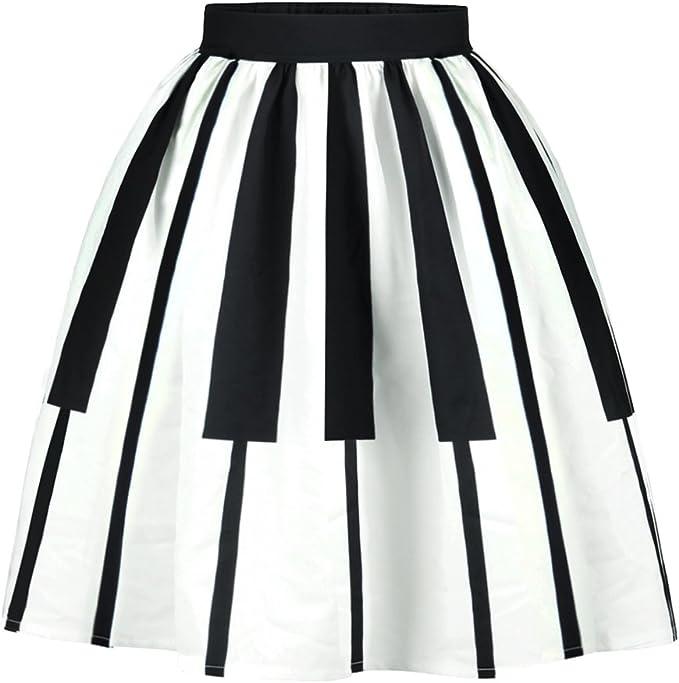 XFentech Mujeres Transpirable Falda de Rayas Blancas y Negras ...