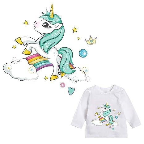 Pegatina transfer parche termoadhesivo unicornio arcoiris para bodys, camisetas, chandal, sudaderas, babys