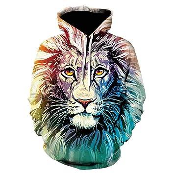 TDPYT Sudaderas con Capucha Hombre Hip Hop Sudadera 3D Tiger Lion ...