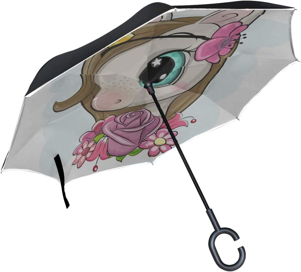 Double Layer Inverted Inverted Umbrella Is Light And Sturdy Cute Cartoon Unicorn Flowerson Blue Background Reverse Umbrella And Windproof Umbrella Ed
