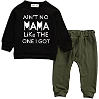 Slinkaslp Baby Kids Toddler Boy Sayings Printed Tops Pants Leggings Outfits Clothes Set 0-3 Y