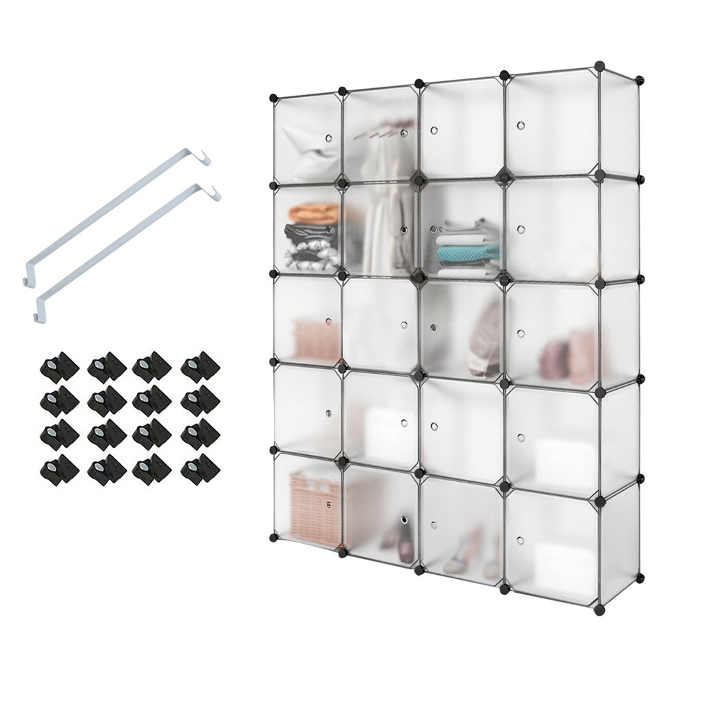 PONCTUEL ESCARGOT Interlocking Plastic Wardrobe Cabinet, Cube Storage Organizer with Translucent Curly Patterned Doors for Personal Items, Clothes, Shoes, Toys (12 cubes) Hao Nan Gong Mao
