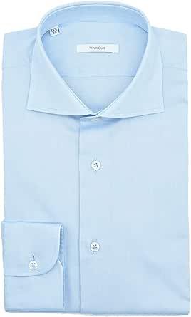 Marcus Camisa Hombre Celeste Twill Cuello Francés azul ...