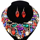 African Beads Jewelry Sets Women Bridal Crystal Statement Necklace Earring Jewelry Sets