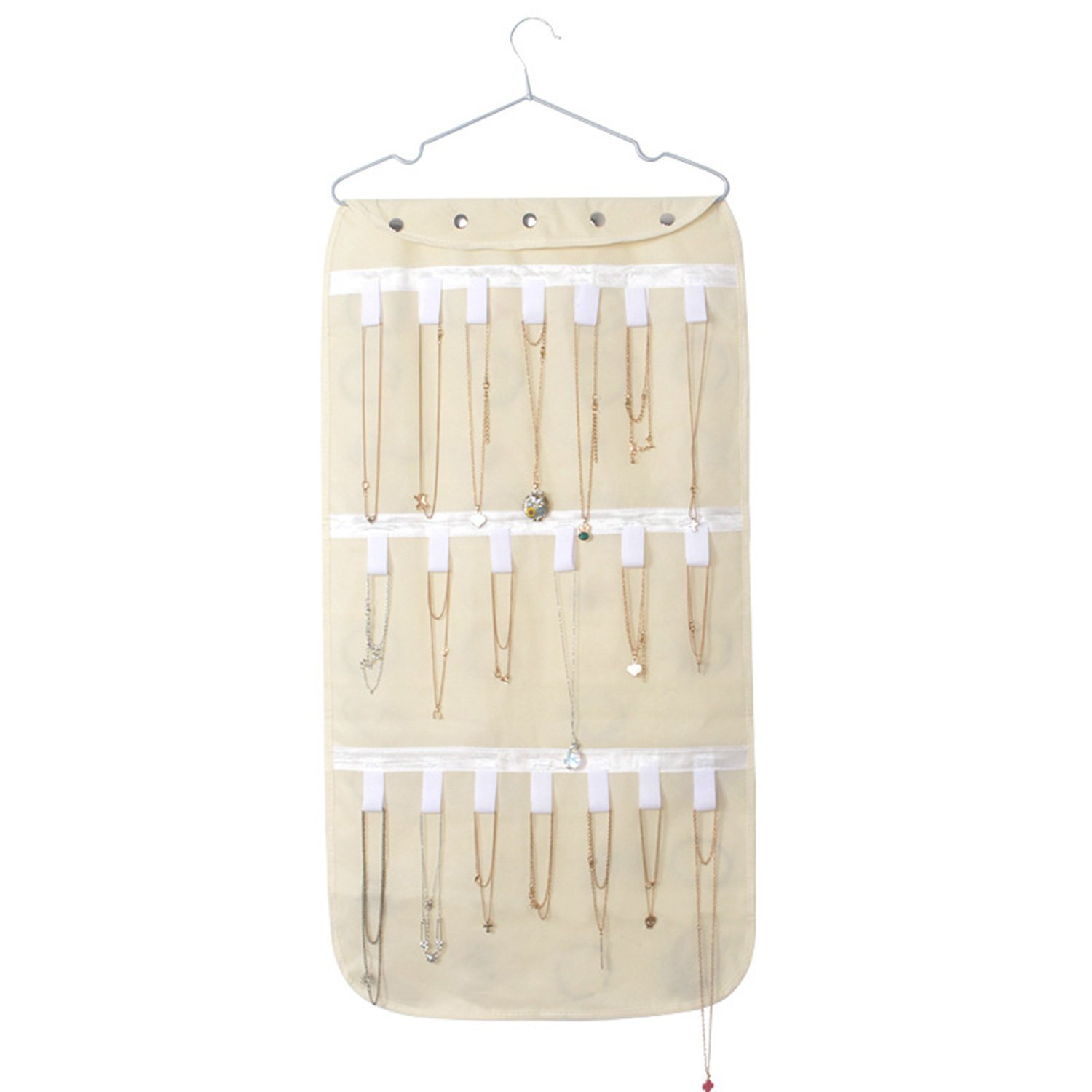 SAVORLIVING Hanging Jewelry Organizer Storage Bag Non-woven Fabric Dual Sided Wall Door Closet Hanging Organizer for Necklaces Bracelets Accessories (Beige)