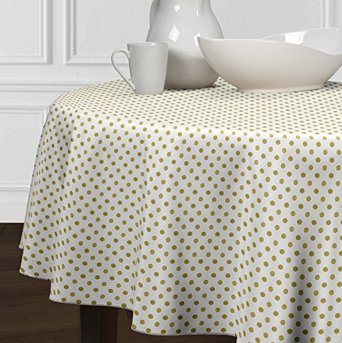 A LuxeHome White and Metallic Gold Modern Contemporary Polka Dot Tablecloths Dining Room Kitchen Round 72″