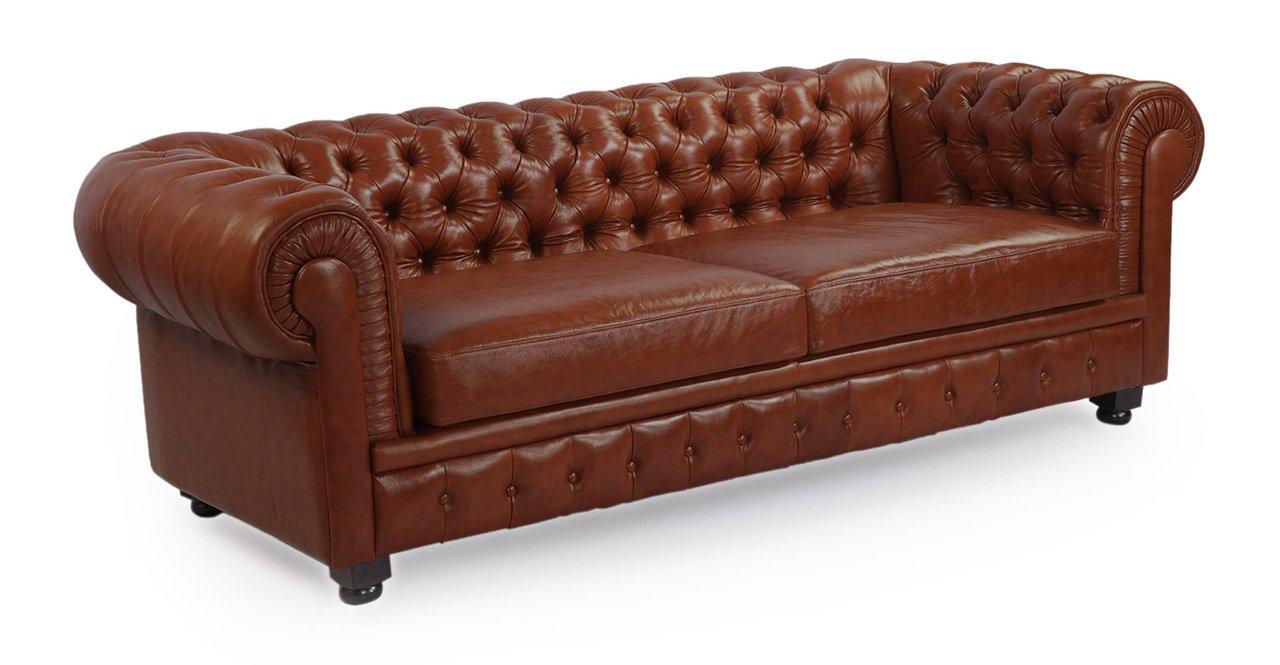 Amazon: Kardiel Chesterfield Style Modern Vintage Sofa, Bordeaux  Premium Aniline Leather: Kitchen & Dining