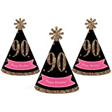 Chic 90th Birthday - Pink, Black and Gold - Mini Cone Birthday Party Hats - Small Little Party Hats - Set of 10