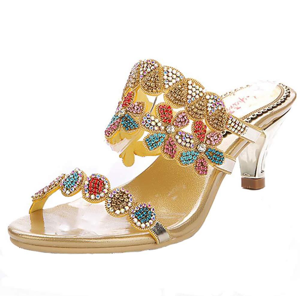 gold Sandals Women's, Summer Flip Flops Glitter High Heels Slipper Beach shoes Mules