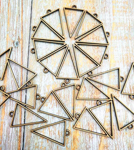 (24 Pack Antique Bronze Triangle Framework Open Back Bezel Pendant Blanks Zinc Alloy Accessories for Jewelry Making 30 x 20 mm)