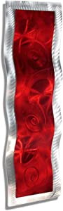 Stunning Modern Red & Silver Metallic Wall Wave With Abstract Spiral Etchings - Hand-Painted Home Accent - Jewel Tone Home Decor, Contemporary Metal Wall Art - Inner Fire 3 by Jon Allen