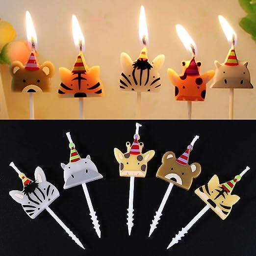 WEISHAZI Velas de cumpleaños con forma de animal, 5 unidades ...