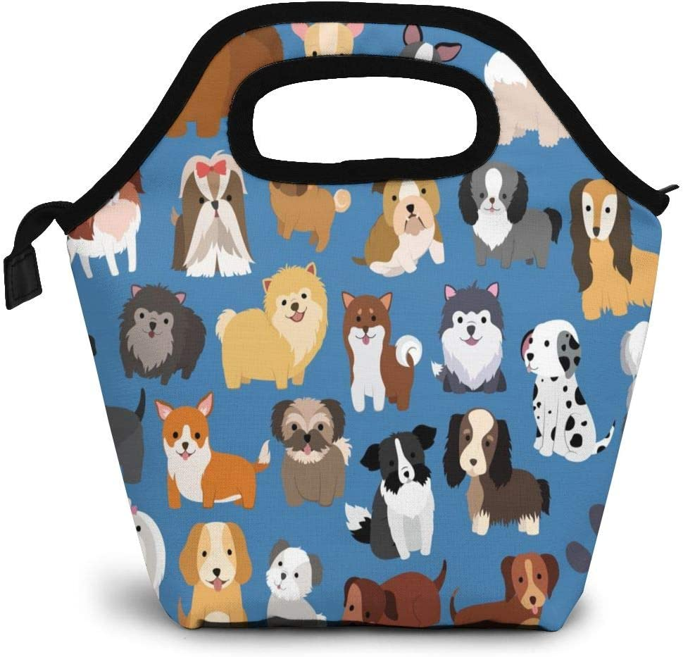 Cute Dog Insulated Lunch Portable Carry Tote Picnic Storage Bag Cartoon Animals Lunch Box Food Bag Gourmet Handbag Cooler Warm Pouch Tote Bag For Work Office