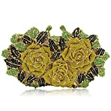 Stunning Rose Crystal Evening Bags And Clutches For Women Formal clutch Purse (Multicoloured Yellow)