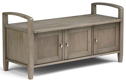 Amazing Wood Storage Bench   Shoe Storage Bench With Doors And Shelve   Distressed  Grey