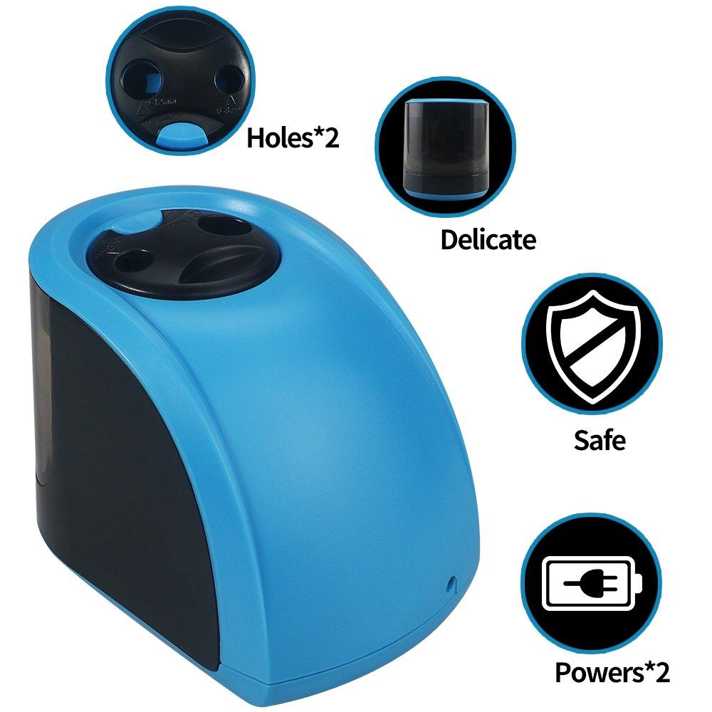 HUSAN Anspitzer USB // Batterien betrieben tragbare elektrische automatische Anspitzer f/ür Kinder Doppel-Loch-Tub-Box perfekt f/ür Zuhause B/üro /& Schule Klassenzimmer