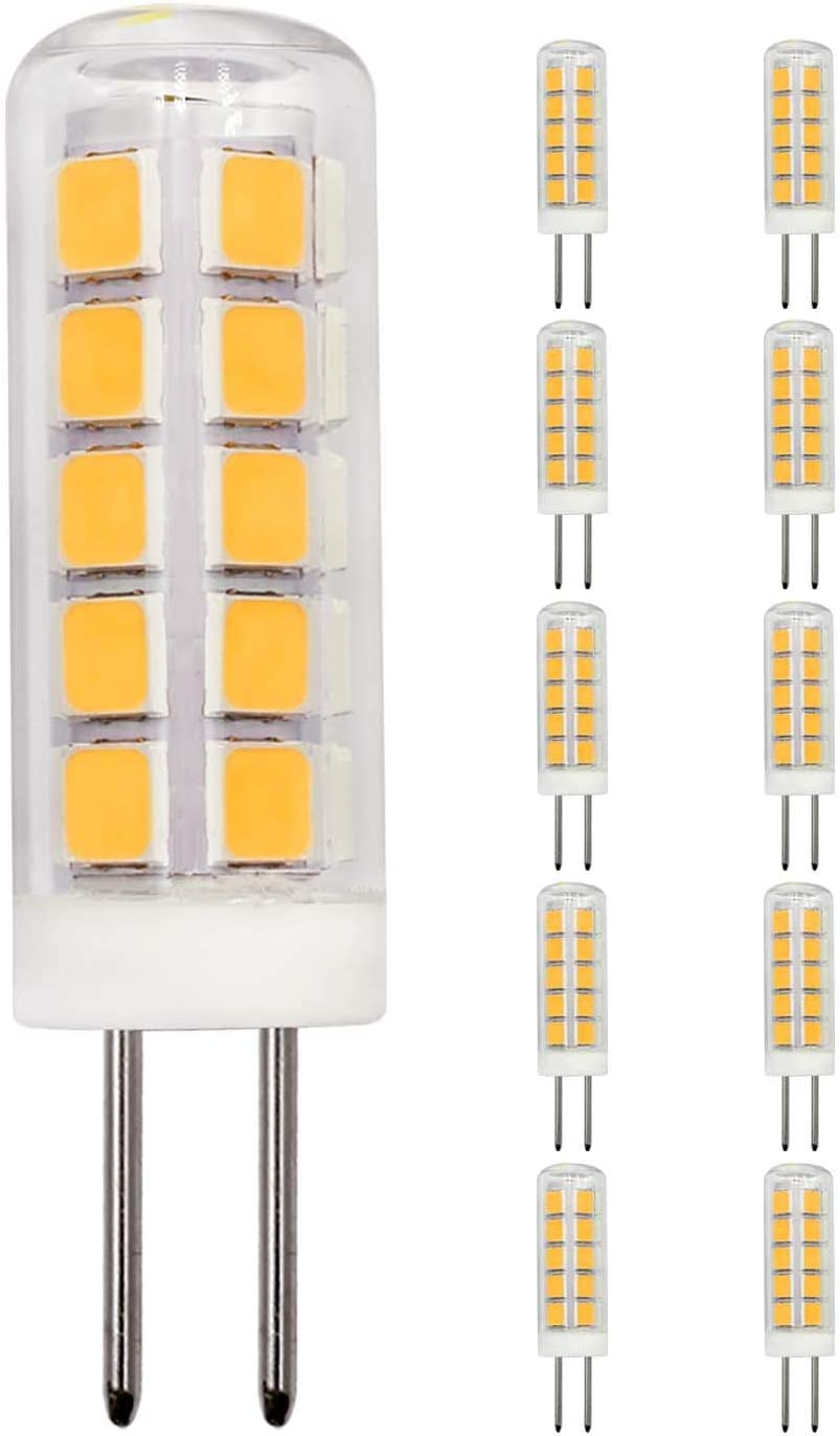 10 Pack G4 LED Light Bulbs 2W Equivalent to 20W 25W 15W Halogen Warm White 3000k 220LM AC DC 12V JC Bi-Pin Base Bulb for Home and Landscape Lighting