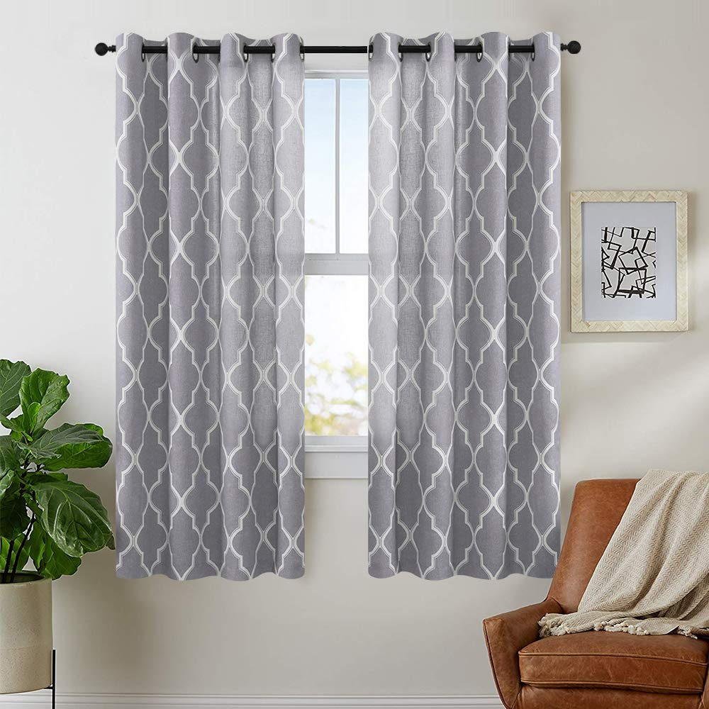jinchan Grey Moroccan Tile Print Curtains for Bedroom Curtain - Quatrefoil Flax Linen Blend Textured Geometry Lattice Grommet Window