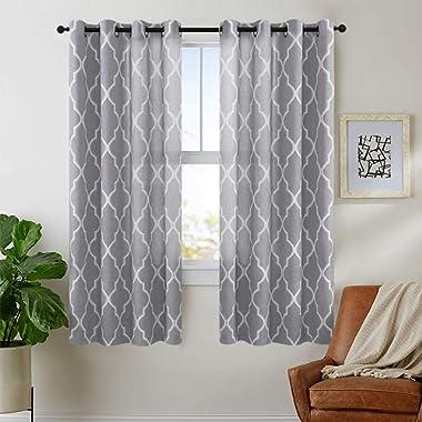 jinchan Grey Moroccan Tile Curtains Print for Bedroom Curtain Quatrefoil Flax Linen Blend Textured Geometry Lattice Grommet Window Treatment Set for Living Room 50  W x 63  L 2 Panels