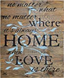 Cheap NO MATTER WHAT NO MATTER WHERE ITS ALWAYS HOME WHEN LOVE IS THERE Rustic Barn Wood Pallet Sign 24″x30″ Handcrafted wall decor with floral design and inspirational quote to beautify your family home