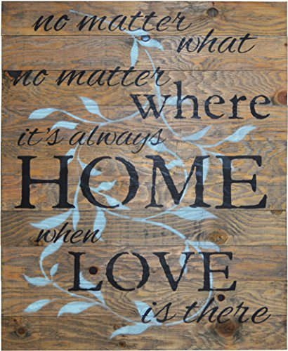 NO MATTER WHAT NO MATTER WHERE ITS ALWAYS HOME WHEN LOVE IS THERE Rustic Barn Wood Pallet Sign 24