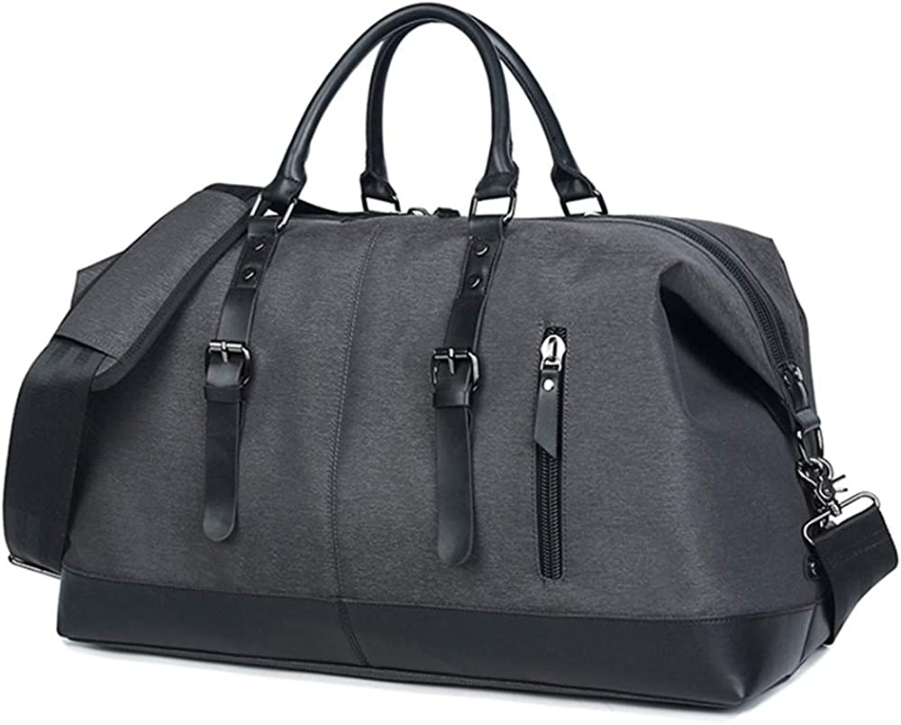 Travel Duffel Bag, Oversized Leather Unisex Weekender Bag, 50L Overnight Carry On Handle Bag, Sports Duffel Bag with Waterproof Tear-Resistant for Soccer Baseball Basketball Football Black
