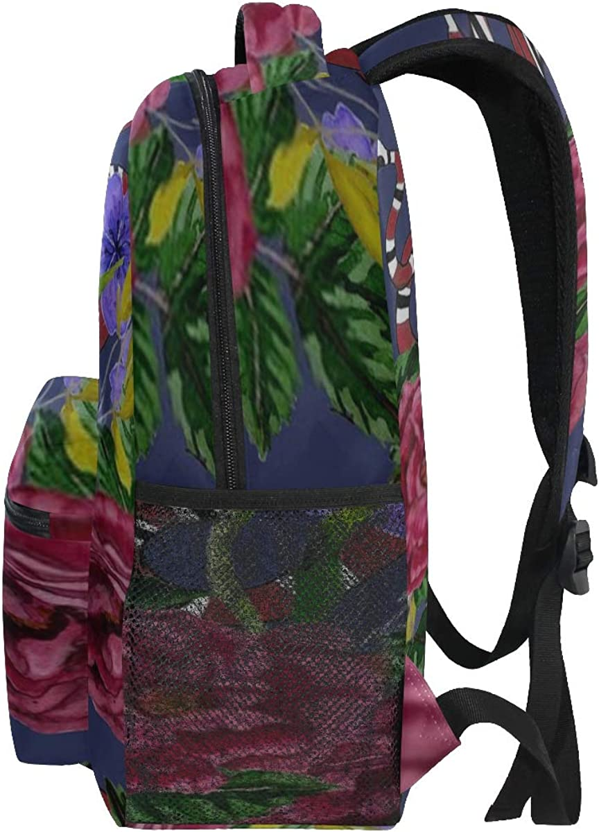 Backpack Bag Watercolor Seamless Pattern Flowers Snakes Fashion Backpack For Women Waterproof Casual Daypacks For Young Girls