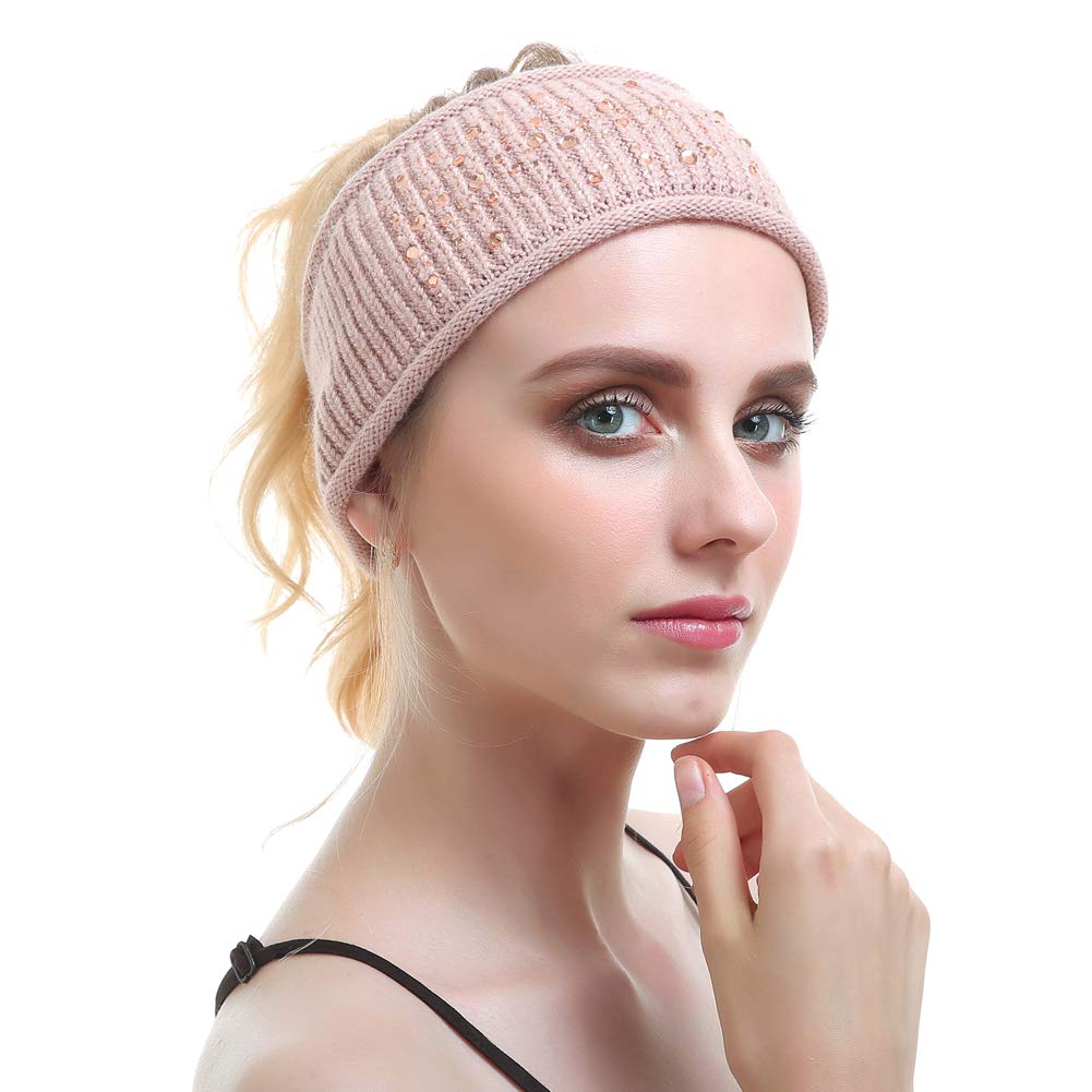 Vemolla Winter Multifunctional Warm Wool Outdoor Sport Yoga Headband with Tough Rhinestone(with 6 Colors)