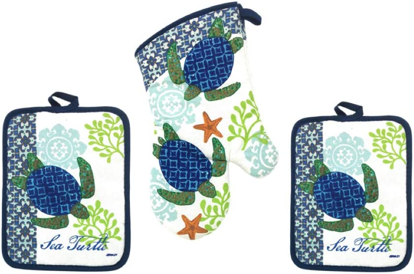 Sea Turtle Potholders and Oven Mitt - 3 Piece Beach Gift Set