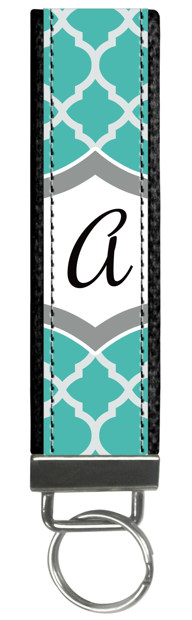 Snaptotes Teal Moroccan Design Personalized Monogram Wristlet Keychain
