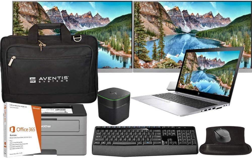 HP Elitebook 850 G5 Laptop Bundle with Intel i5-8250U 4-Core, 8GB RAM, 500GB SSD, Win 10, Office 365, Printer, Dual E243 Monitors, Dock, Keyboard, Mouse, Mousepad, Bag