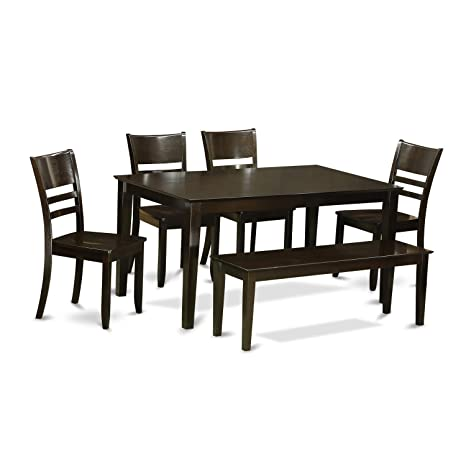 Peachy Caly6 Cap W 6 Pc Dining Room Set With Bench Dining Table And 4 Ding Room Chairs And Bench Alphanode Cool Chair Designs And Ideas Alphanodeonline