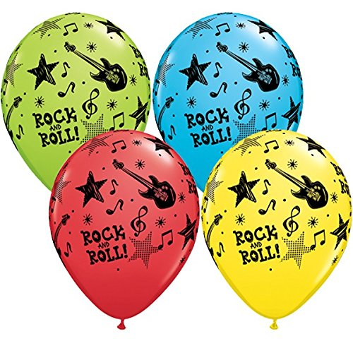 Qualatex Rock & Roll Stars 11 Inch Latex Balloons (Assorted Colours, 10 Pack)