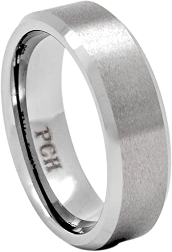 Forever Flawless Jewelry 7mm Brushed /& High Polished Beveled Edge Grooved Center Tungsten Carbide Wedding Band