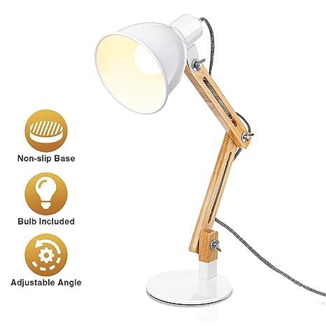 KINGSO Lámpara de Mesa LED Diseño Original de Madera Lámpara de Lectura de Brazo Ajustable AC230V ON/Off Lámpara de Oficina Estilo Moderno Para ...