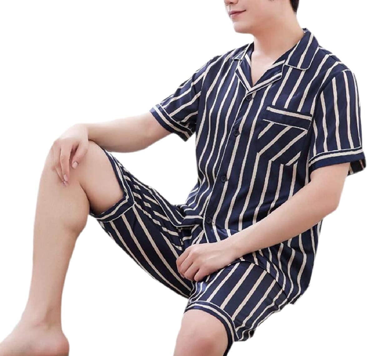 ZXFHZS Mens Long-Sleeved Faux Silk Satin Classic Stripe Home Wear Pajama Sets