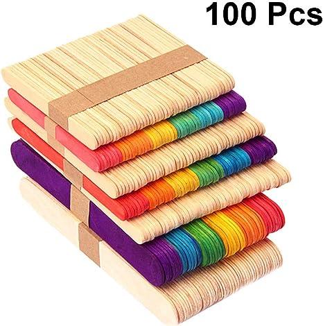 STOBOK 100 palitos de madera para manualidades, palitos de helado ...