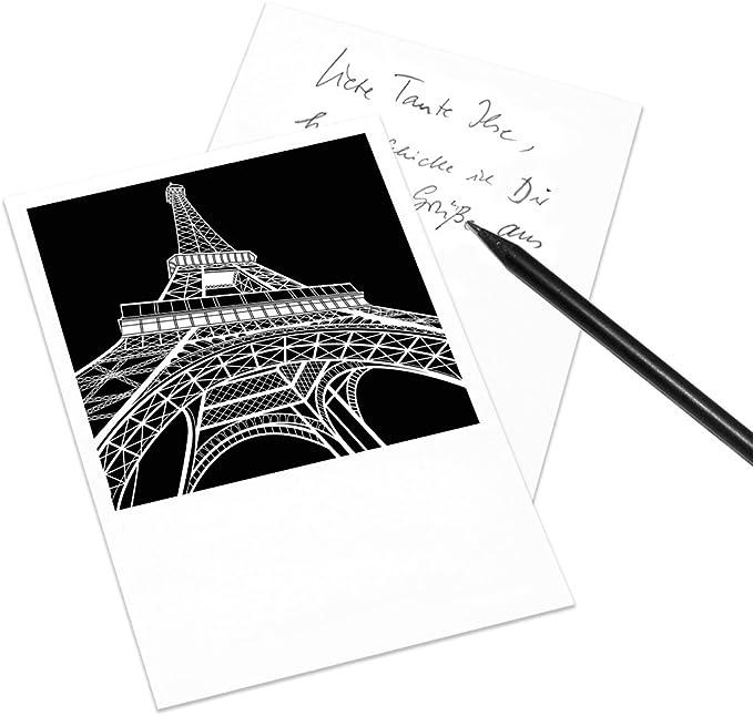 Juego de 10 tarjetas postales Arquitectura Internacional gráfico - Polaroid Style - formato vertical DIN A6 - Motivo: Paris, Eiffelturm: Amazon.es: Oficina y papelería