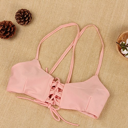 Vlunt - Bikini para mujer, Push Up, corte brasileño Rosa