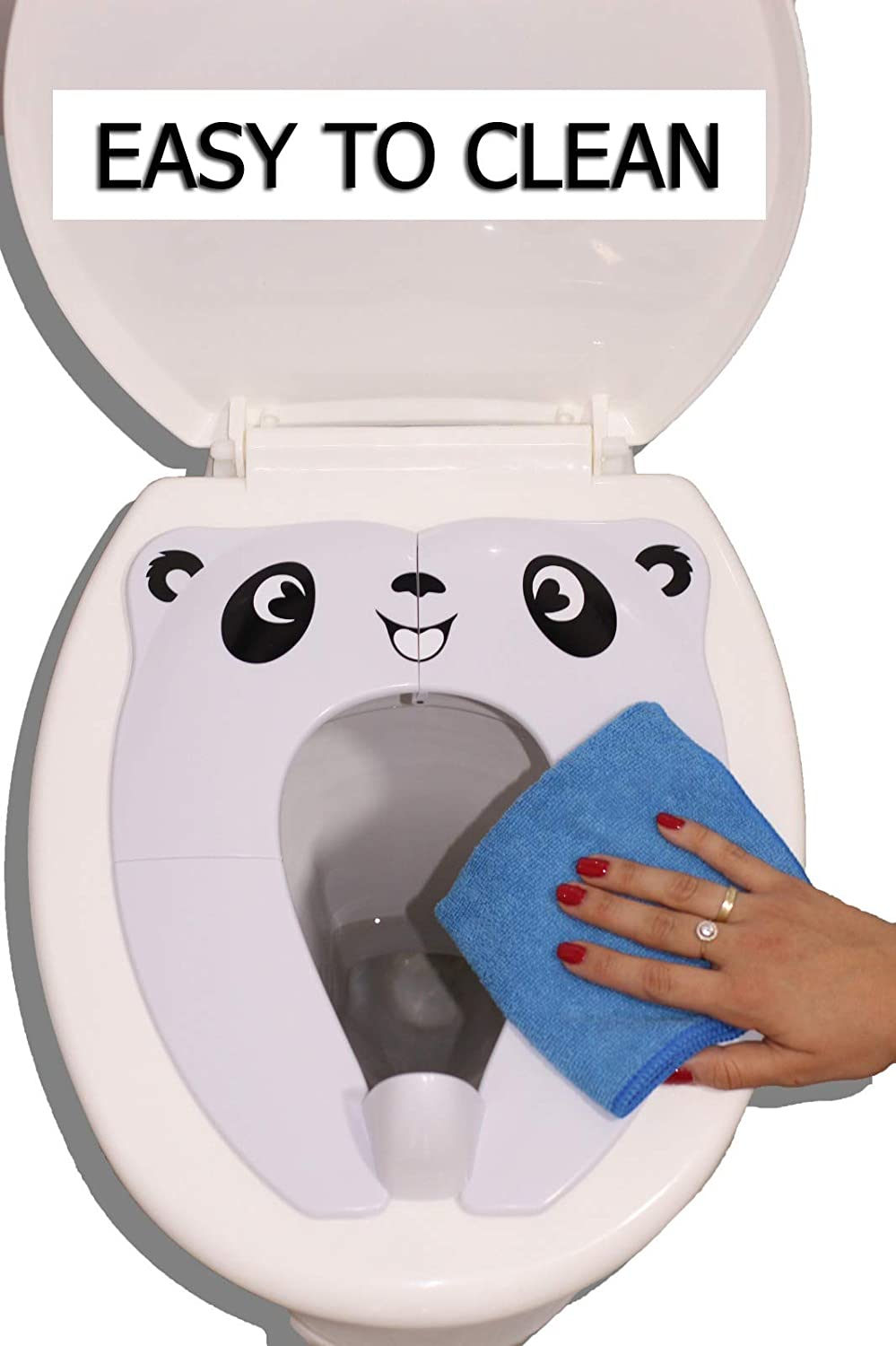with Handy Carry Bag Blue Panda Extra Stable Large Upgraded Folding Travel Potty Seat Portable Toilet Training Seat for Toddlers Powerful and Safe Boys /& Girls RafaLife