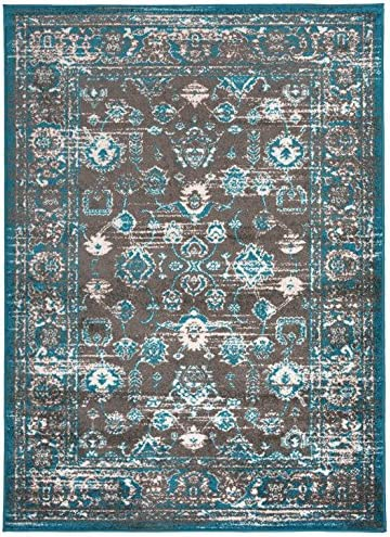 Designer Collection Vintage Mahal Design Traditional Oriental Area Rug Rugs 2 Options Turquoise Blue