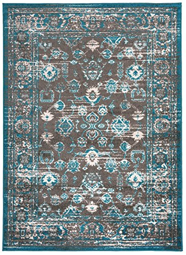 Designer Collection Vintage Mahal Design Traditional Oriental Area Rug Rugs 2 Different Color Options (Turquoise Blue, 20