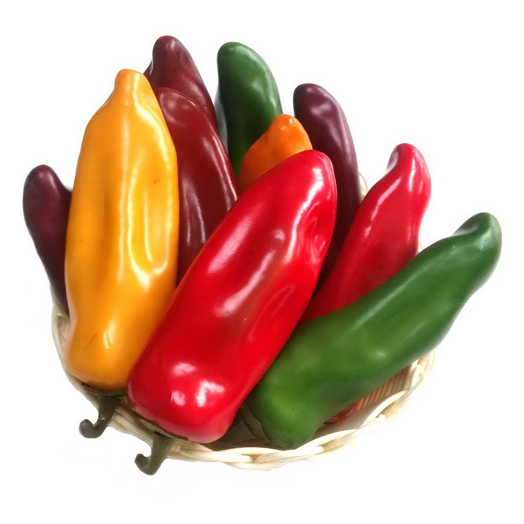 Gresorth 10pcs Artificial Lifelike Simulation Chili Fake Pepper Vegetable (Yellow, Red, Wine Red, Green, Dark Red) Each Color 2PCS by Gresorth