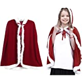 dPois Kids Girls Velvet Christmas Miss Santa Cloak Hooded Cape Xmas Holiday Party Cosplay Costume