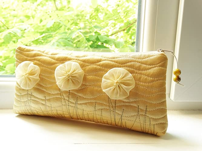 e46ed5b783 Amazon.com: Gold Satin Clutch Bag with Flowers Woman Wallet Christmas Gift:  Handmade